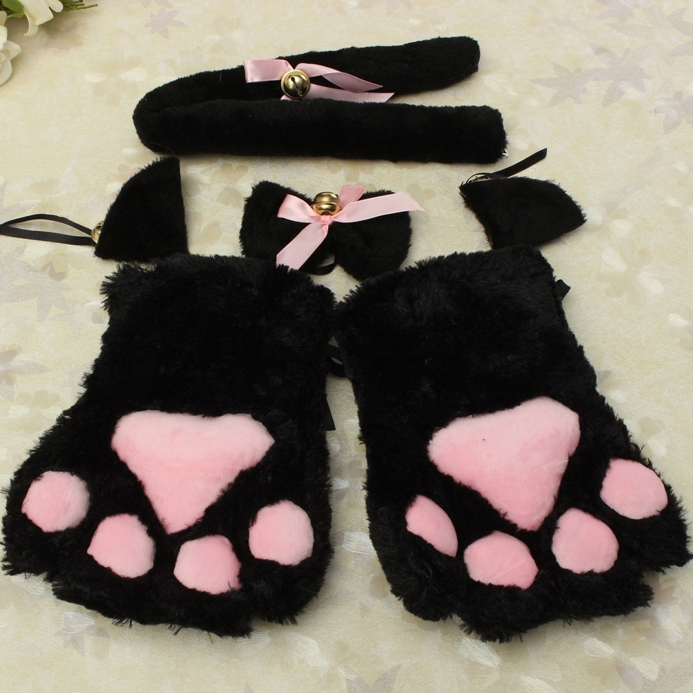 Cosplay Neko Anime Costume Plush Gloves Paw Ear Tail Party Sexy Flutty Cat Maid
